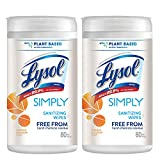 Lysol Simply Sanitizing Wipes, 160ct, Orange Blossom Scent, No Harsh Chemical Residue, Plant-Based Active Ingredient, Kills 99.9% of Bacteria, Sanitizing Wipes, 80 Count (Pack of 2)