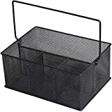 YBM Home Mesh Utensil Caddy, Silverware, Napkin Holder and Condiment Organizer for Kitchen, Dining, Entertaining, Picnics, Tailgating, and Much More, Silver Mesh Caddy MultiPurpose Design 1151m