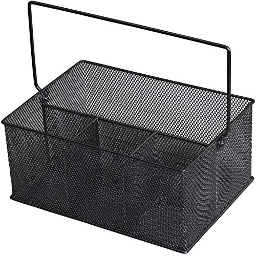 YBM Home Mesh Utensil Caddy, Silverware, Napkin Holder and Condiment Organizer for Kitchen, Dining, Entertaining, Picnics, Tailgating, and Much More, Black Coated Mesh Caddy MultiPurpose Design 1151mb