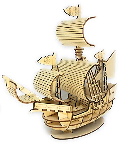 SKOTTY'S 3D Wooden Puzzle Boat for Kids,Teens and Adults,DIY Building,Model,Hobby Pirate Ship KIt,Larger Size for Display,STEM Toys, Educational Brain Teaser Connecticut