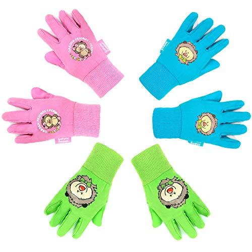 Hortem Gartenhandschuhe für Kinder im Alter von 4–7 Jahren, weiche Baumwolle, Gartenarbeit oder Arbeitshandschuhe, 3 Paar