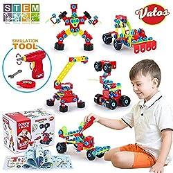 VATOS Spielzeug Baue Bausteine Lernspielzeug Baukasten mit 552 Stück - STEM Educational Konstruktionsbaukasten Kreativ Spielzeug für Kinder Jungen & Mädchen ab dem Alter von 6 Jahre