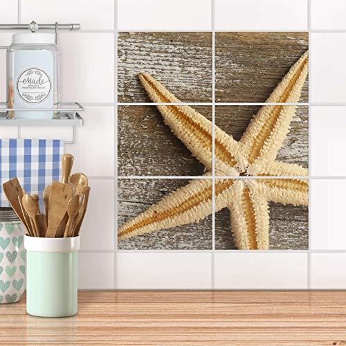 creatisto Fliesensticker für Bad und Küche I Fliesen-Folie Sticker selbstklebend I Fliesen renovieren - Fliesendekor für Küchen- und Badfliesen I Design: Starfish