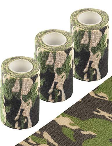 Outdoor Saxx® - 3X Camouflage Tarn-Tape, Gewebe-Band, Tarnung wasserfest mehrfach verwendbar, Kamera, Ausrüstung, Jäger, Angler, Fotografen, 3er Pack, Länge 4.5m, Breite 10 cm
