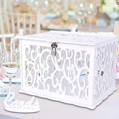 OurWarm Wedding Card Box PVC Hollow Wedding Envelope Box with Lock and Card Sign, Upgraded Security Money Box Gift Card Box for Wedding Reception Birthday Baby Shower Graduation Party Supplies