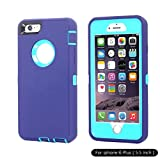 Ai-case Built-in Screen Protector Tough 4 in1 Rugged Shock Proof Cover with Kickstand for iPhone 6/6S Plus - Purple/Blue