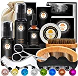 Kit de Barbe Homme Complet Coffret Barbe avec Shampoing Barbe,Guide Barbe,Huile...
