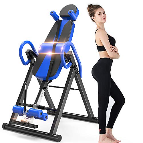 Bigzzia Gravity Heavy Duty Inversion Table with Headrest & Adjustable Protective Belt Back Stretcher Machine for Pain Relief Therapy (Blue)