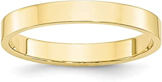 10k Yellow Gold 3mm Flat Wedding Ring Band Size 7 Classic Fine Jewelry Gifts For Women For Her