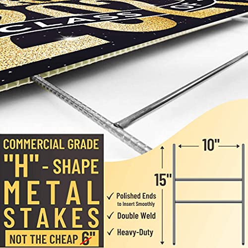 """Graduation Yard Sign with Stakes Included - 17"""" x 13"""" Double Sided Graduation Lawn Sign - Black & Gold Happy Graduation Yard Sign - Outdoor Graduation Yard Decorations & Graduation Signs for Yard"""