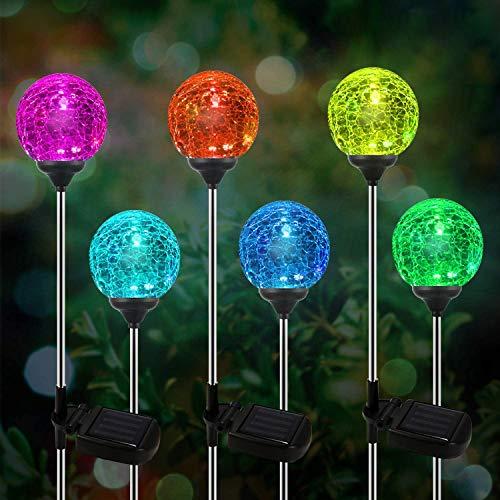 Solarleuchte Gartenleuchte LED 6er Glaskugel Set,OxyLED Solar Globe Licht Stakes, farbveränderliche LED-Gartenbeleuchtung für Außen, Garten, Balkon, Terrasse, Rasen, Wege