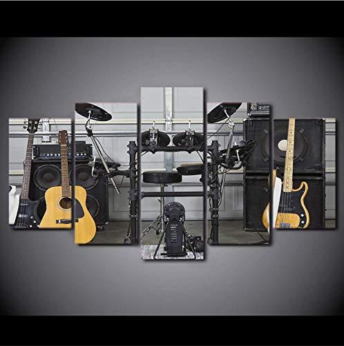 Moderne HD Gedrukt Wall Art Canvas Pictures 5 Stuks Muziek Instrument Gitaar Drum Akoestiek Schilderijen Posters Home Decor 30x40cm 30x60cm 30x80cm