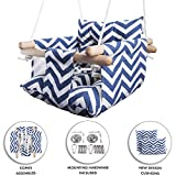 Cateam Canvas Baby Swing Blue - Wooden Hanging Swing Seat Chair for Baby with Safety Belt and mounting...