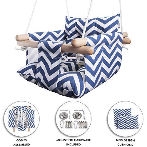 Cateam Columpio de Lona Baby by Azul - Silla Columpio de Madera para bebé con cinturón de Seguridad y Accesorios de Montaje. Bebé Hamaca Silla Regalo de cumpleaños.