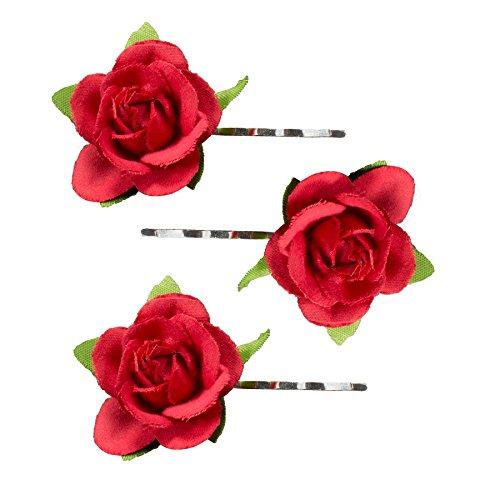 Alpenflüstern Trachten-Haarklammern Rosen-Blüten 3er-Set rot ADV110