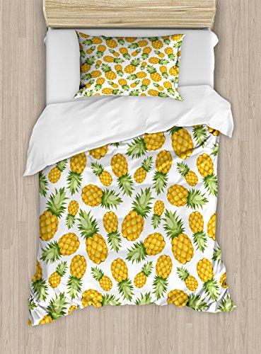 Ambesonne Jaune et Blanc de Couette en Climat Tropical, Ananas Fruits Sweet mûres Juicy Nourriture décoratifs, Parure de lit avec oreillers, Terre Jaune Vert Blanc, Tissu, Multicolore 1, Twin/Twin XL