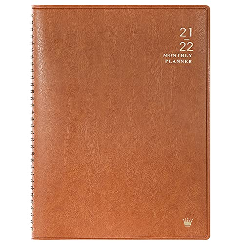 """2021-2022 Monthly Planner - 18 Months Calendar with Faux Leather, 8.86"""" x 11.4"""", Jul 2021 - Dec 2022, 15 Notes Pages, Strong Twin - Wire Binding, Pocket, Monthly Tabs, Perfect Organizer"""