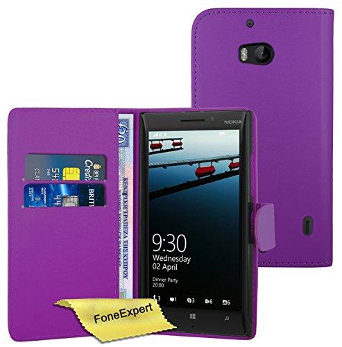 FoneExpert® Wallet Case Flip Cover Hüllen Etui Ledertasche Lederhülle Premium Schutzhülle für Nokia Lumia 930 + Displayschutzfolie (Lila)