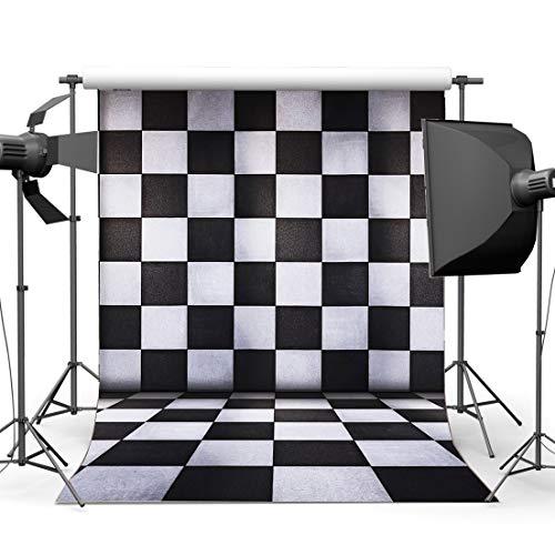 JoneAJ Vinilo 10X10FT Telón Fondo Mosaico Telones Fondo Blanco y Negro Patrón geométrico Cuadrado Fotografía Fondo para decoración Interior Papel Tapiz Interior Retratos personales fotográfico