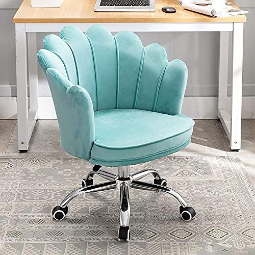 Renovation House Velvet Bürostuhl Petal Makeup Chair Ergonomischer Computerstuhl Drehstuhl mit mittlerer Rückenlehne und abnehmbarem Sitzbezug Höhenverstellbarer Empfangsstuhl für Schlafzimmer Wohnen