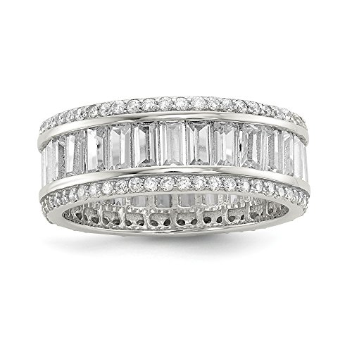 925 Sterling Silver Baguette Round Cubic Zirconia Cz Eternity Band Ring Size 7.00 Fine Jewellery For Women Gifts For Her
