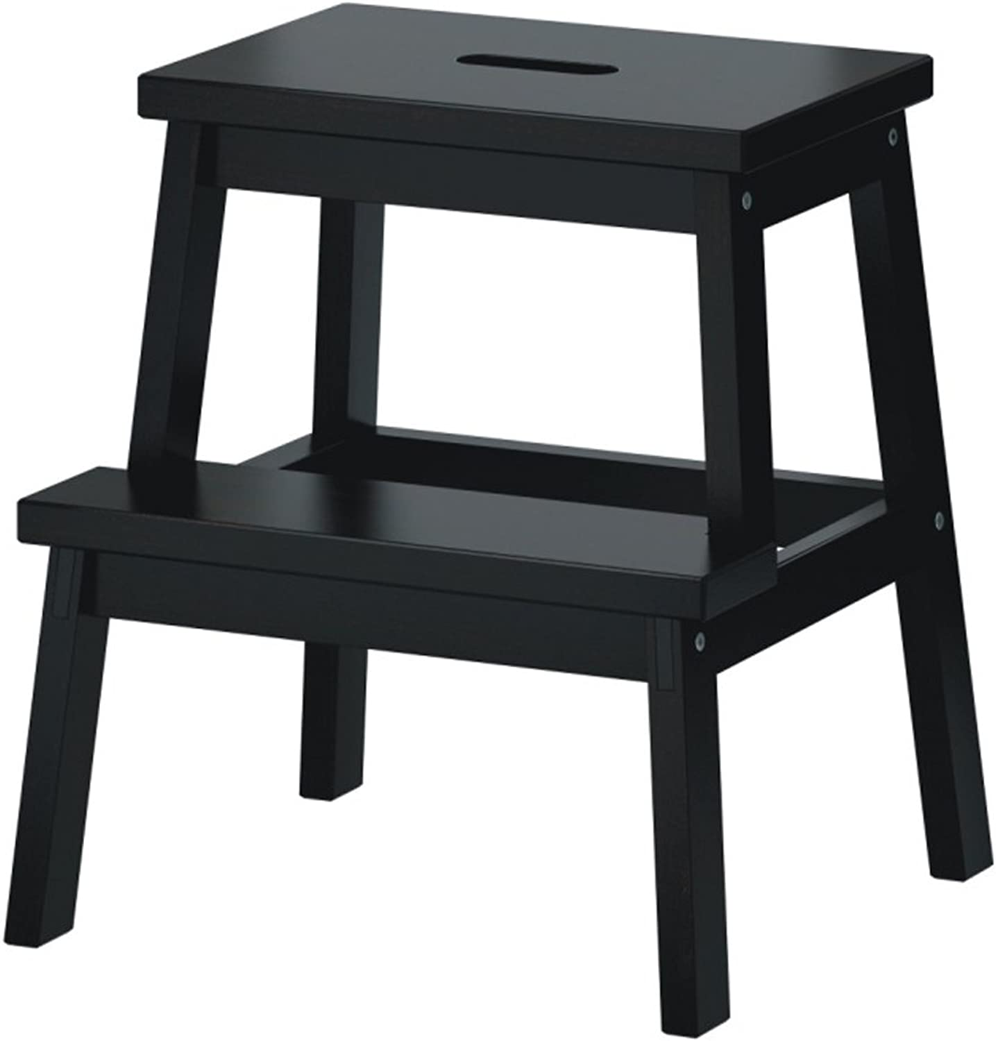 ZPWSNH 2 Steps Solid Wood Step Stool Kitchen Step Stool Stool Simple Home, White Black Step Stool (color   Black)
