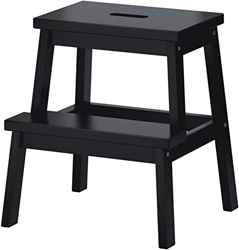 Yxsd Chaise de Tabouret d'échelle de Cuisine de Marche en Bois Solide d'étape de 2 étapes Accueil Simple, Blanc Noir (Couleur   Noir)