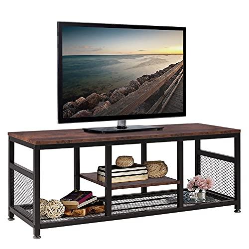 VECELO TV-Schrankständer 120 cm breit für TV bis 48 Zoll mit offenem Stauraum und Regalen Industrieller Couchtisch, für Wohnzimmer, Unterhaltungsraum, Flur, Braun (Brown, 120cm*40cm*45cm)