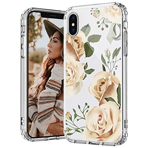 MOSNOVO iPhone X/Xs Hülle, Champagner Rosen Blühen Blumen Muster TPU Bumper mit Hart Plastik Hülle Durchsichtig Schutzhülle Transparent für iPhone X/Xs (Champagne Roses)