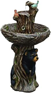 Wisechoice 34.5 inch Water Fountain with Bear and Birds on a Tree Stump   2 Tiers, 39.6 Gallon Per Hour Flow Rate