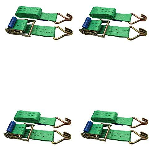 Ratchoox Spanngurte mit Ratsche 2T, strapazierfähig, mit Gummigriff für Anhänger-Ladung, Grün., grün