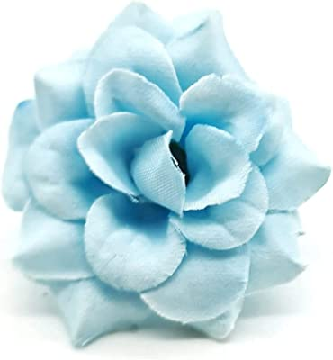 SATYAM KRAFT Artificial Eden Rose Flowers for Home Decoration and Craft (Light Blue, 12 Pieces, 4 cm)