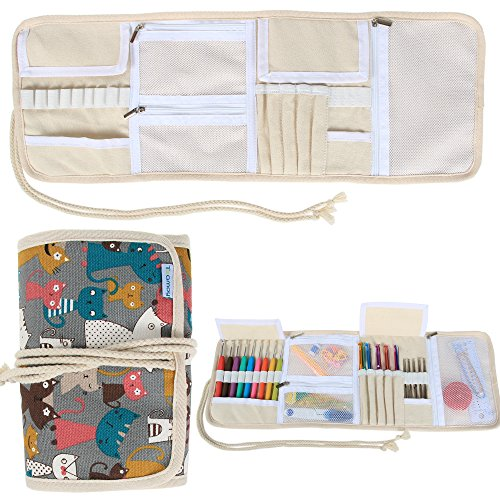 Teamoy Crochet Hook Case, Roll Bag Holder Organizer for Various Crochet Needles and Knitting Accessories, Compact and All-in-one, Elegant Cats