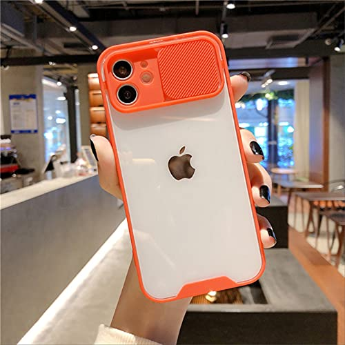 Estuche de Lujo para teléfono con protección de cámara para iPhone 11 Pro MAX 12 7 8 Plus XS MAX 12 Mini X XR SE 2020 Cubierta Trasera Transparente con Marco Lindo para iPhone 11Pro MAX Rojo