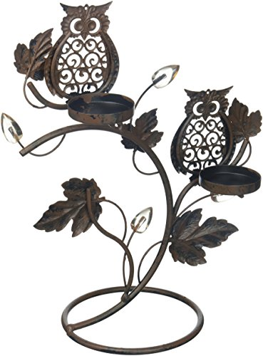 1 X Adorable Double Wise Owl Owls on Branch Metal Votive Candle holder Candle Stand
