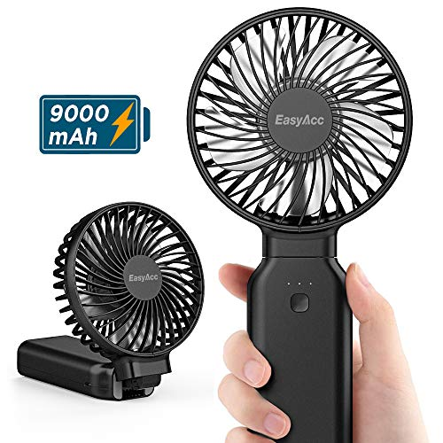 EasyAcc Handventilator,9000mAh USB Ventilator Tragbarer Mini Lüfter Elektrischer - Aufladbarem Batterie Faltbar Kompatibel mit Laptop Multi Port Steckdose für Reisen und Zuhause Schwarz