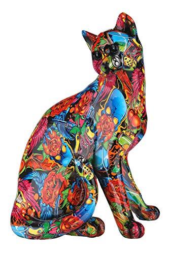 Gilde Sculpture Moderne Figurine décorative Chat Pop Art en Pierre Artificielle Multicolore 23x29...