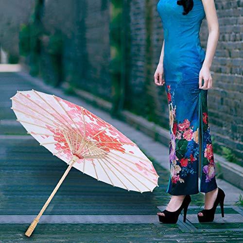 QIRG Paraguas de Accesorios para Fotos, se Siente Suave y cómodo Accesorios de Paraguas con Mango de Madera Maciza para fotografía para Bodas(03, L, Blue)