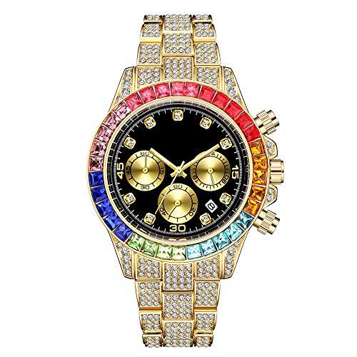 Herren Iced Out Uhr Unisex Hip Pop Voll simulierter Strass mit einem Kalender Quarz Armbanduhr Armband Armbanduhr Rapper Uhr