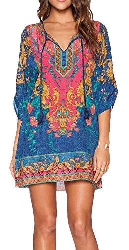 EXCHIC Damen V-Ausschnitt Tunika Sommer Strandkleid Minikleid Bohemian Kleider (XL, 3) …