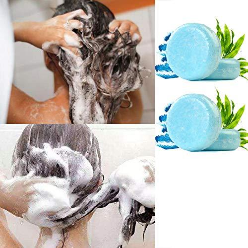 FANGMINGLEI Essence Hair Darkening Shampoo Jabón, Barra de champú Organic Grey Reverse, Jabones de champú Hechos a Mano para Viajes a casa, para Reparar el Cabello dañado 4PCS Seaweed