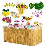 Yidaxing 119Pcs Hawaiano Luau Falda de mesa Set de decoración, Decoración de Fiesta Tropical de 9.6FT con hojas de palma Flores hawaianas decoraciones reutilizable de mesa de fiesta Tiki de verano