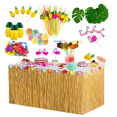 Yidaxing Hawaiano Luau Gonna da Tavolo, Table Skirt Decorazioni per Feste Tropicali con Foglie di Palma Fiori Cake Topper e Cannucce di Frutta Riutilizzabile per la Spiaggia Estate a Tema Hawaiana
