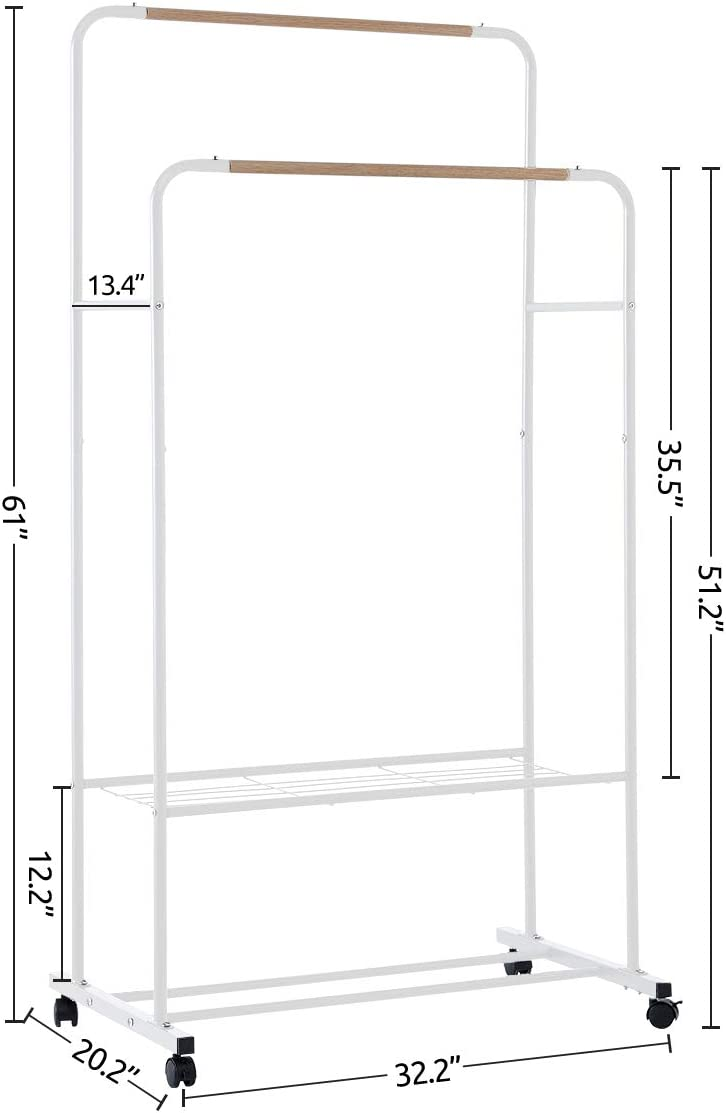 Modern Heavy Duty Entryway Coat Rack and Shoe Bench Storage Stand with Side Rails YOUDENOVA Rolling Clothing Rack on Wheels White Double Rails Clothes Rack with 2 Tiers Metal Shelves