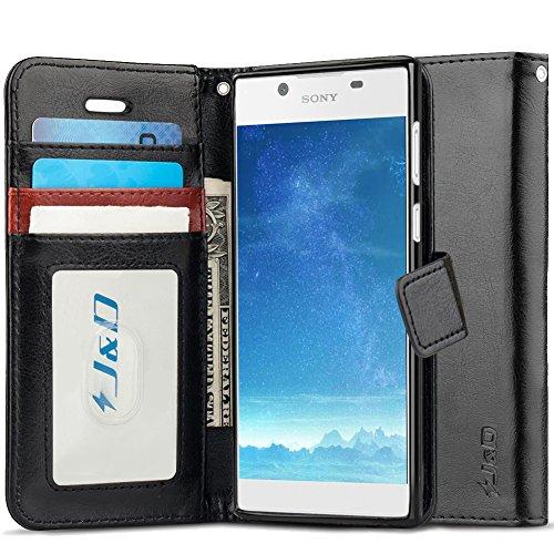 JundD Kompatibel für Xperia L1 Leder Hülle, [Handytasche mit Standfuß] [Slim Fit] Robust Stoßfest PU Leder Flip Handyhülle Tasche Hülle für Sony Xperia L1 Hülle - Schwarz