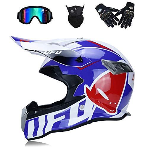 WAHA Motocross Helmet, For Outdoor Adults Mountain Bike Helmet, Cross Integral Enduro Infanturo SUV Helmet Motorcycle with Glasses Mask Gloves, Dot Certification,Blue,M