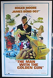 """Roger Moore Signed James Bond""""The Man With The Golden Gun"""" Movie Poster - PSA/DNA COA"""