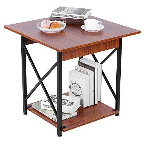 Zerone Table d'Appoint Compacte avec Étagère de Rangement, Table de Chevet avec Cadre Métal en X Table de Nuit Bord de Lit pour Maison Bureau, 60x60x58,5 cm
