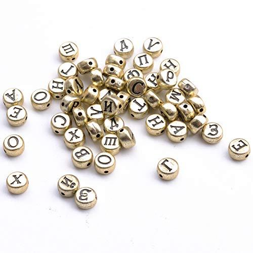 YJYJ Letras Rusas Alfabeto Redondo Acrílicos 4 * 7mm Accesorios De Joyería De Bricolaje (Oro) 100pcs
