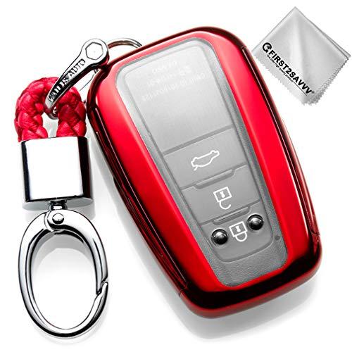 Rojo Funda para Llave Smart Key para Coche 2018 2019 Toyota Camry Corolla Avalon Prius C-HR RAV4 3 4 Buttons Carcasa Protectora [Suave] de [Silicona] KY-Camry-GJTM-08G11